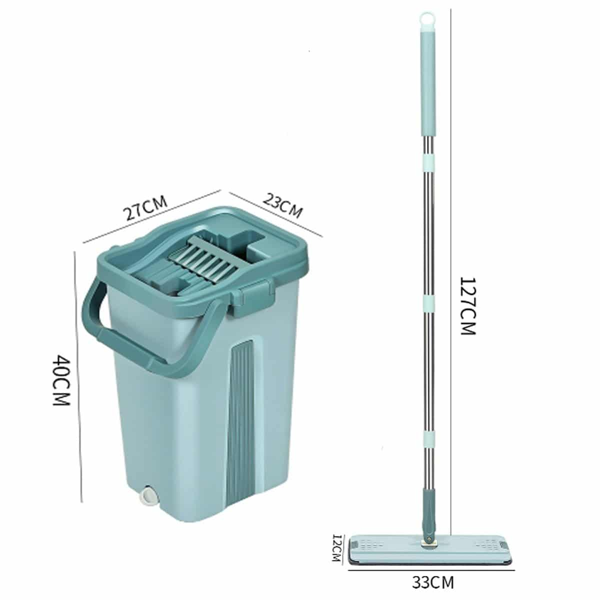 1Set Flat Squeeze Mop and Bucket Hand Free Wringing Floor Cleaning Mop 360° Roatation Automatic Spin Mop Pads Wet & Dry Usage