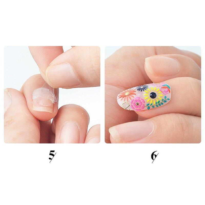 GAM-BELLE 5 Sheets 120pcs Double Sided False Nail Art Adhesive Tape Glue Sticker DIY Tips Fake Nail Acrylic Manicure Gel